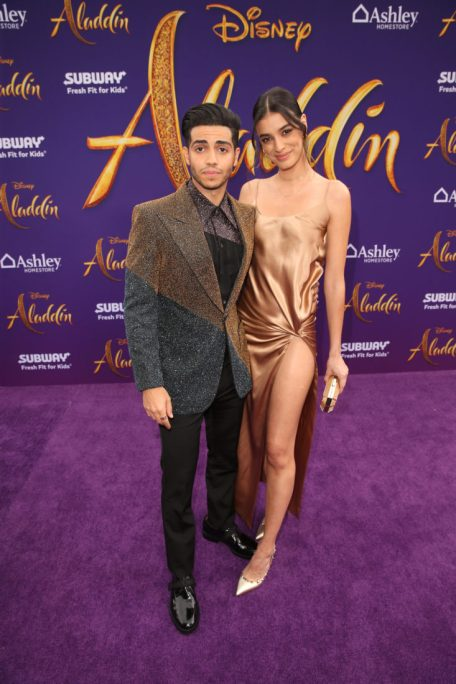 """LOS ANGELES, CA - MAY 21: Mena Massoud and Laysla de Oliveira attend the World Premiere of Disney's """"Aladdin"""" at the El Capitan Theater in Hollywood CA on May 21, 2019, in the culmination of the film's Magic Carpet World Tour with stops in Paris, London, Berlin, Tokyo, Mexico City and Amman, Jordan. (Photo by Jesse Grant/Getty Images for Disney) *** Local Caption *** Laysla de Oliveira; Mena Massoud"""