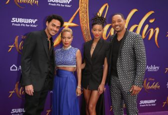 """LOS ANGELES, CA - MAY 21: (L-R) Trey Smith, Jada Pinkett Smith, Willow Smith and Will Smith attend the World Premiere of Disney's """"Aladdin"""" at the El Capitan Theater in Hollywood CA on May 21, 2019, in the culmination of the film's Magic Carpet World Tour with stops in Paris, London, Berlin, Tokyo, Mexico City and Amman, Jordan. (Photo by Jesse Grant/Getty Images for Disney) *** Local Caption *** Jada Pinkett Smith; Trey Smith; Willow Smith; Will Smith"""