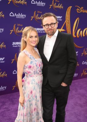 """LOS ANGELES, CA - MAY 21: Joachim Ronning (R) and guest attend the World Premiere of Disney's """"Aladdin"""" at the El Capitan Theater in Hollywood CA on May 21, 2019, in the culmination of the film's Magic Carpet World Tour with stops in Paris, London, Berlin, Tokyo, Mexico City and Amman, Jordan. (Photo by Jesse Grant/Getty Images for Disney) *** Local Caption *** Joachim Ronning"""