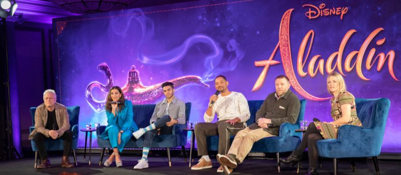 """Alan Menken, Naomi Scott, Mena Massoud, Will Smith and Guy Ritchie attend the press conference to celebrate the release of Disney's """"Aladdin"""" on May 10th in London, UK"""