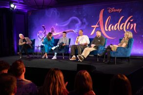 "Alan Menken, Naomi Scott, Mena Massoud, Will Smith and Guy Ritchie attend the press conference to celebrate the release of Disney's ""Aladdin"" on May 10th in London, UK"