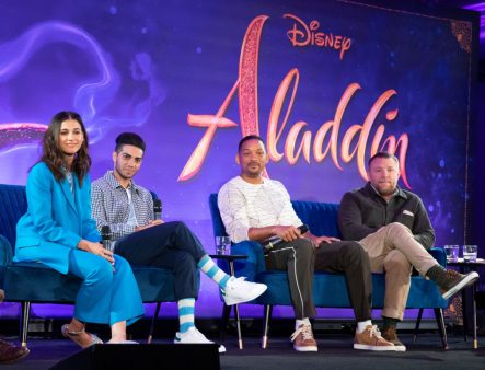"Naomi Scott, Mena Massoud , Will Smith and Guy Ritchie attend the press conference to celebrate the release of Disney's ""Aladdin"" on May 10th in London, UK"