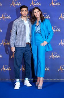 "Mena Massoud and Naomi Scott attend the photo call to celebrate the release of Disney's ""Aladdin"" on May 10th in London, UK"