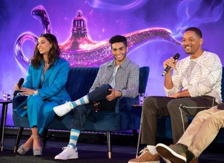 "Naomi Scott, Mena Massoud and Will Smith attend the press conference to celebrate the release of Disney's ""Aladdin"" on May 10th in London, UK"