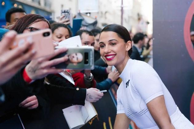 "PARIS, FRANCE – May 08: Naomi Scott attends the ""Aladdin"" Paris Gala Screening at Cinema Le Grand Rex on May 08, 2019 in Paris, France."