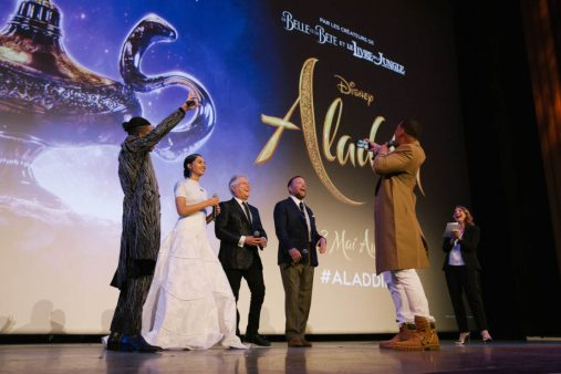 """PARIS, FRANCE – May 08: The movie cast attends the """"Aladdin"""" Paris Gala Screening at Cinema Le Grand Rex on May 08, 2019 in Paris, France."""