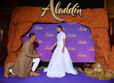 """PARIS, FRANCE - MAY 08: Will Smith and Naomi Scott, wearing a Off-White by Virgil Abloh dress attend the """"Aladdin"""" gala screening at Le Grand Rex on May 08, 2019 in Paris, France. (Photo by Pascal Le Segretain/Getty Images For Disney)"""