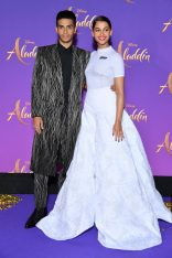 """PARIS, FRANCE - MAY 08: Mena Massoud and Naomi Scott, wearing a Off-White by Virgil Abloh dress attend the """"Aladdin"""" gala screening at Le Grand Rex on May 08, 2019 in Paris, France. (Photo by Pascal Le Segretain/Getty Images For Disney)"""