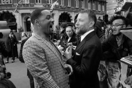 """LONDON, ENGLAND - MAY 09: (EDITORS NOTE: Image has been converted to black and white) Will Smith and Guy Ritchie attend the European Gala Screening of Disney's """"Aladdin"""" at Odeon Leicester Square on May 09, 2019 in London, England. (Photo by Gareth Cattermole/Getty Images for Disney)"""
