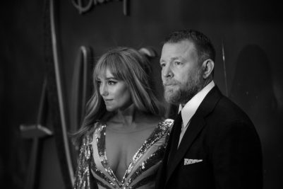 "LONDON, ENGLAND - MAY 09: (EDITORS NOTE: Image has been converted to black and white) Jacqui Ainsley and Guy Ritchie attend the European Gala Screening of Disney's ""Aladdin"" at Odeon Leicester Square on May 09, 2019 in London, England. (Photo by Gareth Cattermole/Getty Images for Disney)"