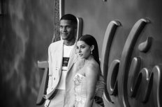 """LONDON, ENGLAND - MAY 09: (EDITORS NOTE: Image has been converted to black and white) Naomi Scott and Jordan Spence attend the European Gala Screening of Disney's """"Aladdin"""" at Odeon Leicester Square on May 09, 2019 in London, England. (Photo by Gareth Cattermole/Getty Images for Disney)"""