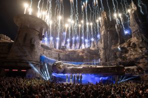 Star Wars: Galaxy's Edge at Disneyland Park in Anaheim, California, lights up with galactic fanfare, May 29, 2019, as Star WarscreatorGeorge Lucasand actors Billy Dee Williams and Mark Hamill, Walt Disney Company Chairman and CEO Bob Iger and actor Harrison Ford celebrate the opening Disney's largest single-themed land expansion ever. Star Wars: Galaxy's Edge opens May 31, 2019, at Disneyland Resort in California and Aug. 29, 2019, at Walt Disney World Resort in Florida. ()Matt Petit/Disneyland Resort