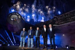 Star Wars: Galaxy's Edge at Disneyland Park in Anaheim, California, lights up with galactic fanfare, May 29, 2019, as (l-r) Star WarscreatorGeorge Lucas, actors Billy Dee Williams, Mark Hamill, Walt Disney Company Chairman and CEO Bob Iger and actor Harrison Ford celebrate the opening Disney's largest single-themed land expansion ever. Star Wars: Galaxy's Edge opens May 31, 2019, at Disneyland Resort in California and Aug. 29, 2019, at Walt Disney World Resort in Florida. (Richard Harbaugh/Disneyland Resort)