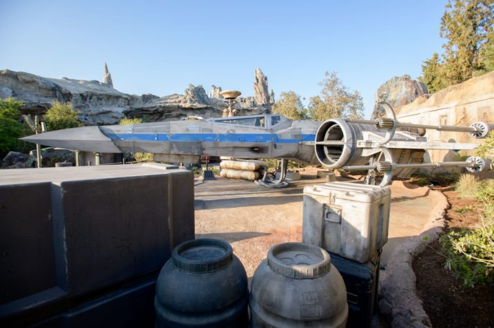 Guests visiting Star Wars: GalaxyÕs Edge at Disneyland Park in Anaheim, California, and at Disney's Hollywood Studios in Lake Buena Vista, Florida, will encounter an X-wing Starfighter located at the Resistance Mobile Command Post. The X-wing is a nimble starfighter used in space combat first by the Rebel Alliance and now the Resistance. Its name comes from the ÒXÓ its four wings create when theyÕre locked in attack position. (Richard Harbaugh/Disney Parks)