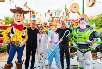 ORLANDO, FLORIDA - JUNE 08: Tom Hanks, Annie Potts and Tim Allen visit Toy Story Land at Disney's Hollywood Studios on June 08, 2019 in Orlando, Florida.