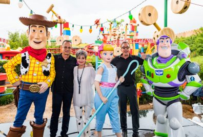 ORLANDO, FLORIDA - JUNE 08: Tom Hanks, Annie Potts and Tim Allen visit Toy Story Land at Disney's Hollywood Studios on June 08, 2019 in Orlando, Florida.