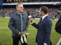 Tom Hanks and Dermot O'Leary at Stamford Bridge, Soccer Aid 2019..Credit Tom Dymond for UNICEF/SAP.