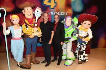 HOLLYWOOD, CA - JUNE 11: (L-R) Tom Hanks and Tim Allen attend the world premiere of Disney and Pixar's TOY STORY 4 at the El Capitan Theatre in Hollywood, CA on Tuesday, June 11, 2019. (Photo by Alberto E. Rodriguez/Getty Images for Disney) *** Local Caption *** Tim Allen; Tom Hanks