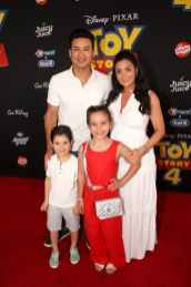 HOLLYWOOD, CA - JUNE 11: (L-R) Dominic Lopez, Mario Lopez, Gia Francesca Lopez, and Courtney Laine Mazza attend the world premiere of Disney and Pixar's TOY STORY 4 at the El Capitan Theatre in Hollywood, CA on Tuesday, June 11, 2019. (Photo by Jesse Grant/Getty Images for Disney) *** Local Caption *** Courtney Laine Mazza; Gia Francesca Lopez; Mario Lopez; Dominic Lopez