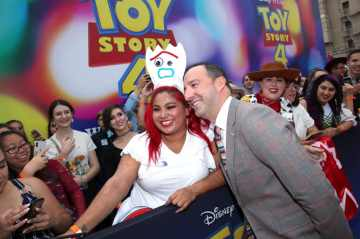 HOLLYWOOD, CA - JUNE 11: Tony Hale (R) attends the world premiere of Disney and Pixar's TOY STORY 4 at the El Capitan Theatre in Hollywood, CA on Tuesday, June 11, 2019. (Photo by Rich Polk/Getty Images for Disney) *** Local Caption *** Tony Hale
