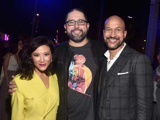 HOLLYWOOD, CA - JUNE 11: (L-R) Ally Maki, director Josh Cooley, and Keegan-Michael Key attend the world premiere of Disney and Pixar's TOY STORY 4 at the El Capitan Theatre in Hollywood, CA on Tuesday, June 11, 2019. (Photo by Alberto E. Rodriguez/Getty Images for Disney) *** Local Caption *** Keegan-Michael Key; Josh Cooley; Ally Maki