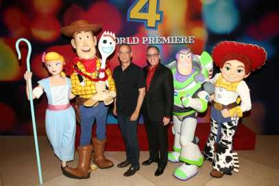 HOLLYWOOD, CA - JUNE 11: Tom Hanks (L) and Tim Allen attend the world premiere of Disney and Pixar's TOY STORY 4 at the El Capitan Theatre in Hollywood, CA on Tuesday, June 11, 2019. (Photo by Jesse Grant/Getty Images for Disney) *** Local Caption *** Tom Hanks; Tim Allen