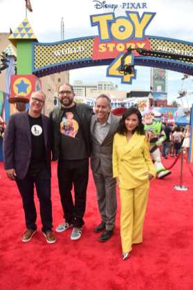 HOLLYWOOD, CA - JUNE 11: (L-R) Producer Mark Nielsen, director Josh Cooley, producer Jonas Rivera and actor Ally Maki attend the world premiere of Disney and Pixar's TOY STORY 4 at the El Capitan Theatre in Hollywood, CA on Tuesday, June 11, 2019. (Photo by Alberto E. Rodriguez/Getty Images for Disney) *** Local Caption *** Mark Nielsen; Josh Cooley; Jonas Rivera; Ally Maki
