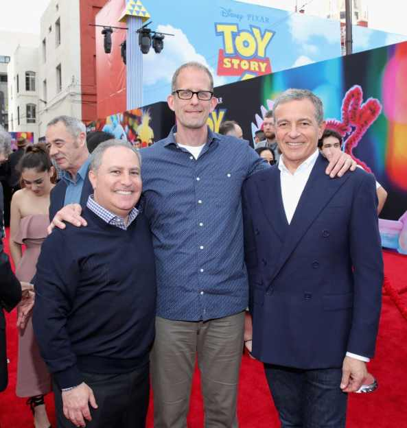 HOLLYWOOD, CA - JUNE 11: (L-R) Walt Disney Studios President, Alan Bergman, Chief Creative Officer of Pixar Animation Studios Pete Docter and The Walt Disney Company Chairman and CEO Bob Iger attend the world premiere of Disney and Pixar's TOY STORY 4 at the El Capitan Theatre in Hollywood, CA on Tuesday, June 11, 2019. (Photo by Rich Polk/Getty Images for Disney) *** Local Caption *** Alan Bergman; Pete Docter; Bob Iger