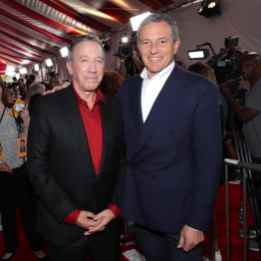 HOLLYWOOD, CA - JUNE 11: Tim Allen (L) and The Walt Disney Company Chairman and CEO Bob Iger attend the world premiere of Disney and Pixar's TOY STORY 4 at the El Capitan Theatre in Hollywood, CA on Tuesday, June 11, 2019. (Photo by Rich Polk/Getty Images for Disney) *** Local Caption *** Tim Allen; Bob Iger