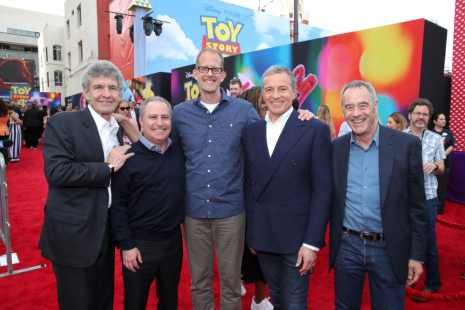 HOLLYWOOD, CA - JUNE 11: (L-R) Chairman, The Walt Disney Studios, Alan Horn, Walt Disney Studios President, Alan Bergman, Chief Creative Officer of Pixar Animation Studios Pete Docter, The Walt Disney Company Chairman and CEO Bob Iger and President of Pixar Animation Studios Jim Morris attend the world premiere of Disney and Pixar's TOY STORY 4 at the El Capitan Theatre in Hollywood, CA on Tuesday, June 11, 2019. (Photo by Rich Polk/Getty Images for Disney) *** Local Caption *** Alan Horn; Alan Bergman; Pete Docter; Bob Iger; Jim Morris