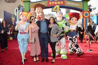 HOLLYWOOD, CA - JUNE 11: President of Pixar Animation Studios Jim Morris (C) and family attend the world premiere of Disney and Pixar's TOY STORY 4 at the El Capitan Theatre in Hollywood, CA on Tuesday, June 11, 2019. (Photo by Alberto E. Rodriguez/Getty Images for Disney) *** Local Caption *** Jim Morris