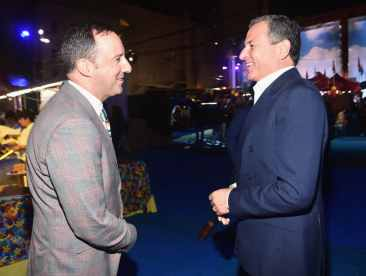 HOLLYWOOD, CA - JUNE 11: Tony Hale (L) and The Walt Disney Company Chairman and CEO Bob Iger attend the world premiere of Disney and Pixar's TOY STORY 4 at the El Capitan Theatre in Hollywood, CA on Tuesday, June 11, 2019. (Photo by Alberto E. Rodriguez/Getty Images for Disney) *** Local Caption *** Tony Hale; Bob Iger