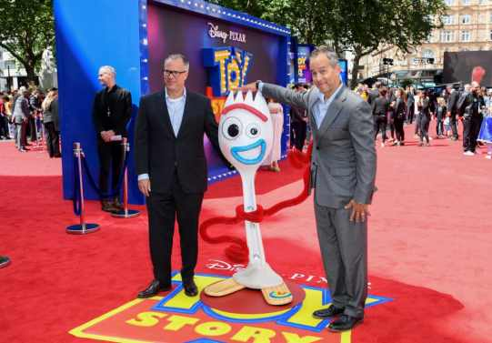 "LONDON, ENGLAND - JUNE 16: Mark Nielsen (L) and Jonas Rivera attend the European premiere of Disney and Pixar's ""Toy Story 4"" at the Odeon Luxe Leicester Square on June 16, 2019 in London, England. (Photo by Gareth Cattermole/Getty Images for Disney and Pixar)"