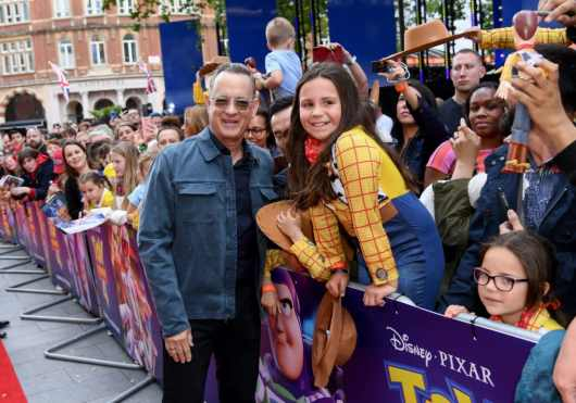 "LONDON, ENGLAND - JUNE 16: Tom Hanks attends the European premiere of Disney and Pixar's ""Toy Story 4"" at the Odeon Luxe Leicester Square on June 16, 2019 in London, England. (Photo by Gareth Cattermole/Getty Images for Disney and Pixar)"
