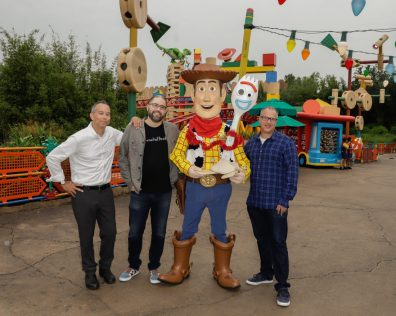 ORLANDO, FLORIDA - JUNE 08: Jonas Rivera, Josh Cooley and Mark Nielsen visit Toy Story Land at Disney's Hollywood Studios on June 08, 2019 in Orlando, Florida. (Photo by John Parra/Getty Images for Disney)
