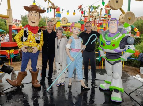 ORLANDO, FLORIDA - JUNE 08: Tom Hanks, Annie Potts and Tim Allen visit Toy Story Land at Disney's Hollywood Studios on June 08, 2019 in Orlando, Florida. (Photo by John Parra/Getty Images for Disney)