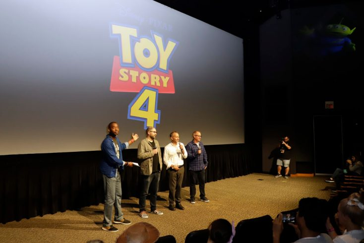 ORLANDO, FLORIDA - JUNE 08: (L-R) Mark Daniel, Josh Cooley, Jonas Rivera and Mark Nielsen surprise fans at an early screening of Pixar's TOY STORY 4 at Disney's Hollywood Studios on June 08, 2019 in Orlando, Florida. (Photo by John Parra/Getty Images for Disney)