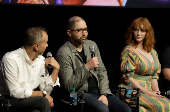 ORLANDO, FLORIDA - JUNE 08: (L-R) Jonas Rivera, Josh Cooley and Christina Hendricks attend the Global Press Junket for Pixar's TOY STORY 4 at Disney's Hollywood Studios on June 08, 2019 in Orlando, Florida. (Photo by John Parra/Getty Images for Disney)