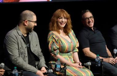 ORLANDO, FLORIDA - JUNE 08: (L-R) Josh Cooley, Christina Hendricks And Tim Allen attend the Global Press Junket for Pixar's TOY STORY 4 at Disney's Hollywood Studios on June 08, 2019 in Orlando, Florida. (Photo by John Parra/Getty Images for Disney)