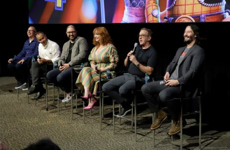 ORLANDO, FLORIDA - JUNE 08: (L-R) Mark Nielsen, Jonas Rivera, Josh Cooley, Christina Hendricks, Tim Allen and Keanu Reeves attend the Global Press Junket for Pixar's TOY STORY 4 at Disney's Hollywood Studios on June 08, 2019 in Orlando, Florida. (Photo by John Parra/Getty Images for Disney)