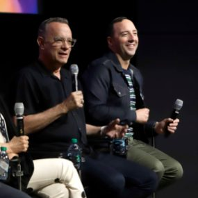 ORLANDO, FLORIDA - JUNE 08: (L-R) Tom Hanks and Tony Hale attend the Global Press Junket for Pixar's TOY STORY 4 at Disney's Hollywood Studios on June 08, 2019 in Orlando, Florida. (Photo by John Parra/Getty Images for Disney)