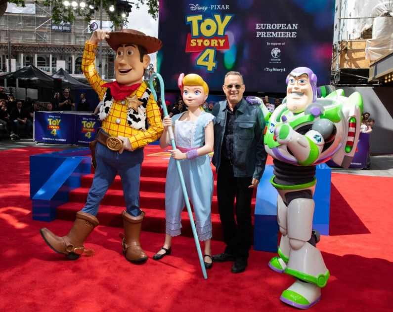(L-R) Woody, Bo Peep, Tom Hanks and Buzz Lightyear attend the European Premiere for Disney and PixarÕs ÒToy Story 4Ó in at Odeon Leicester Square on 16 June 2019 in London, UK
