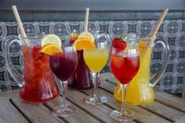 Signature sangria pitchers are offered at the new Three Bridges Bar & Grill in Disney's Coronado Springs Resort at Walt Disney World Resort in Lake Buena Vista, Florida. (Steven Diaz, photographer)