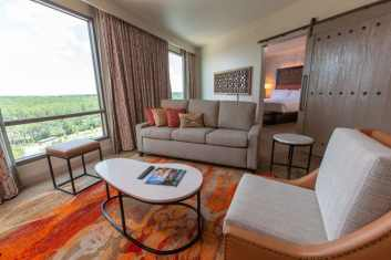 The stylish new guest rooms in Gran Destino Tower at Disney's Coronado Springs Resort blend Old World Spanish style with modern design. Gran Destino Tower opens July 9 at Walt Disney World Resort in Lake Buena Vista, Florida. (Steven Diaz, photographer)