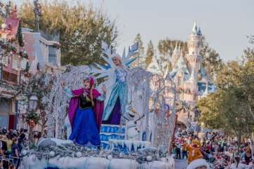 """The Disneyland Resort transforms into the Merriest Place on Earth for the holiday season, Nov. 8, 2019, through Jan. 6, 2020. Among the merriment at Disneyland Park, Mickey, Minnie, Disney Princesses and Santa celebrate the season in """"A Christmas Fantasy"""" parade, a daily procession with floats, music and marching """"tin soldiers."""" (Joshua Sudock/Disneyland Resort)"""