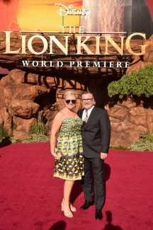 "HOLLYWOOD, CALIFORNIA - JULY 09: Executive producer Tom Peitzman (R) and guest attend the World Premiere of Disney's ""THE LION KING"" at the Dolby Theatre on July 09, 2019 in Hollywood, California. (Photo by Alberto E. Rodriguez/Getty Images for Disney)"