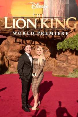 "HOLLYWOOD, CALIFORNIA - JULY 09: Daryl Sabara (L) and Meghan Trainor attend the World Premiere of Disney's ""THE LION KING"" at the Dolby Theatre on July 09, 2019 in Hollywood, California. (Photo by Alberto E. Rodriguez/Getty Images for Disney)"