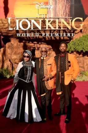 "HOLLYWOOD, CALIFORNIA - JULY 09: (L-R) Mandi Kani, John Kani, and Atandwa Kani attend the World Premiere of Disney's ""THE LION KING"" at the Dolby Theatre on July 09, 2019 in Hollywood, California. (Photo by Alberto E. Rodriguez/Getty Images for Disney)"
