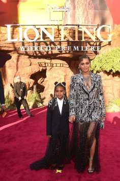 "HOLLYWOOD, CALIFORNIA - JULY 09: Blue Ivy Carter (L) and Beyonce Knowles-Carter attend the World Premiere of Disney's ""THE LION KING"" at the Dolby Theatre on July 09, 2019 in Hollywood, California. (Photo by Alberto E. Rodriguez/Getty Images for Disney)"