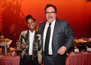 "HOLLYWOOD, CALIFORNIA - JULY 09: JD McCrary (L) and Jon Favreau attend the World Premiere of Disney's ""THE LION KING"" at the Dolby Theatre on July 09, 2019 in Hollywood, California. (Photo by Alberto E. Rodriguez/Getty Images for Disney)"